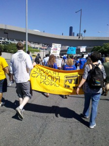 The march proceeds from SPS Headquarters in SODO and heads downtown.